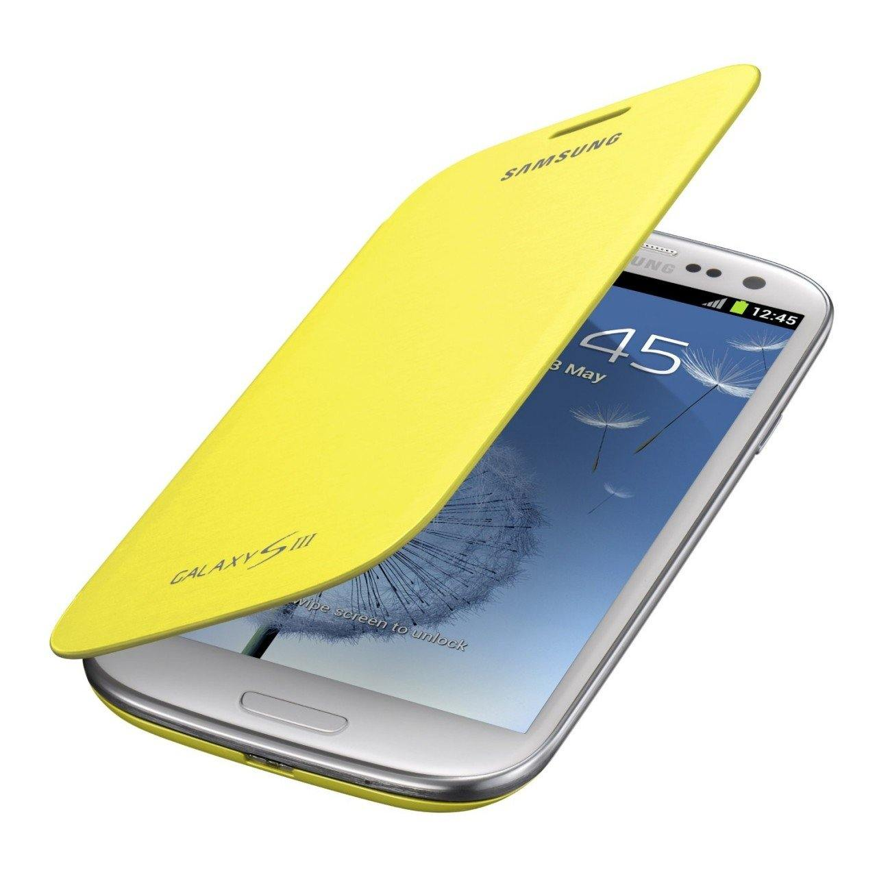 Genuine Samsung Galaxy S3 Flip Cover - Yellow - EFC-1G6FYECSTD