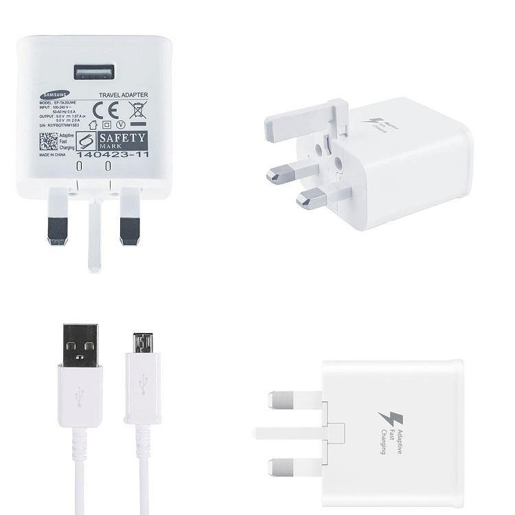 Official Samsung Galaxy S7 / S7 Edge Fast Charger With Micro USB Cable White EP-TA20UWE