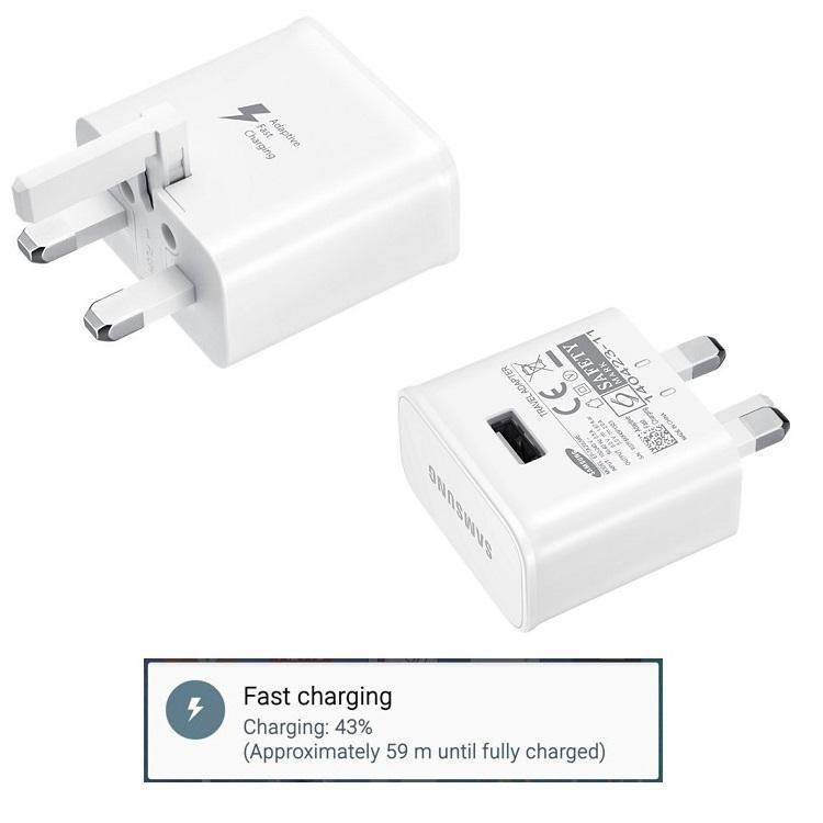 Official Samsung 2amp Fast Charger UK Mains EP-TA20UWE White