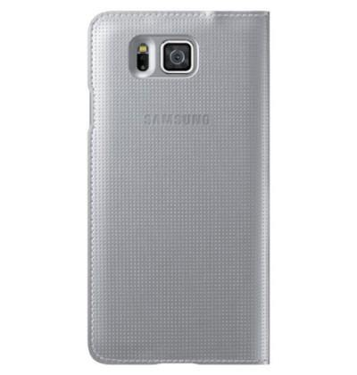 Samsung Galaxy Alpha S-View Flip Cover Case - Silver