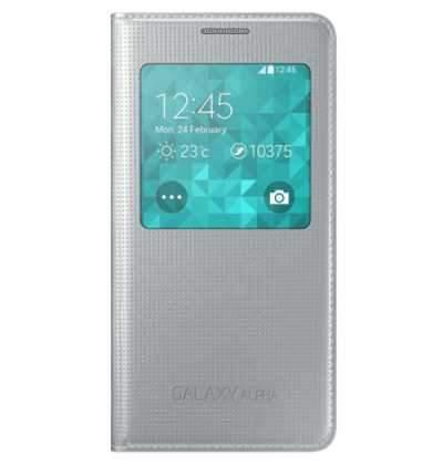 Samsung Galaxy Alpha S-View Flip Cover Case - Silver - Uk Mobile Store