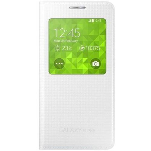 Samsung Galaxy Alpha S-View Flip Cover Case - White