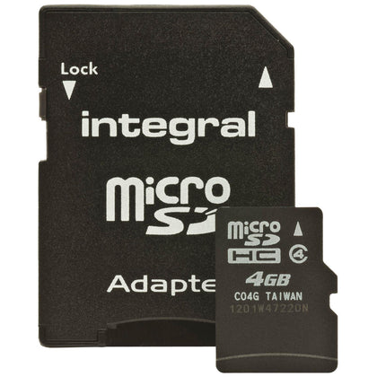 Integral 4GB Micro SDHC Memory Card / SD Adapter - Class 10