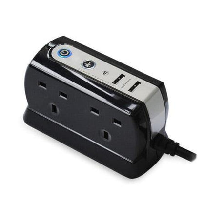 Masterplug Surge Protected 4 Plug Power Block with Dual USB - Black - Uk Mobile Store