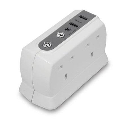 Masterplug Surge Protected 4 Plug Power Block with Dual USB - White - Uk Mobile Store