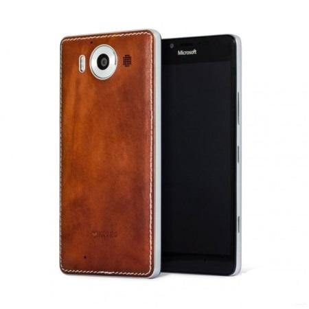 Mozo Microsoft Lumia 950 XL Leather Back Cover Cognac/Silver