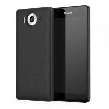 Mozo Microsoft Lumia 950 XL Leather Back Cover Black Rubber - Uk Mobile Store