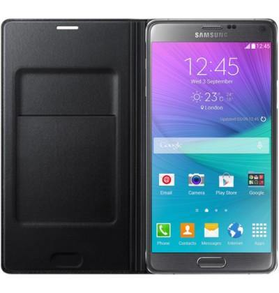 Samsung Galaxy Note 4 Flip Wallet Cover - Smooth Black - Uk Mobile Store