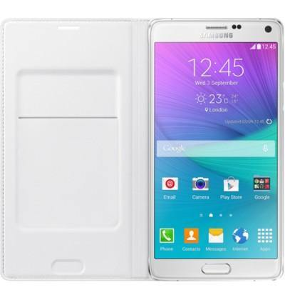 Official Samsung Galaxy Note 4 Flip Wallet Cover - White - Uk Mobile Store