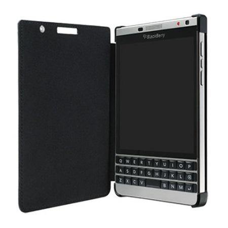 Official BlackBerry Passport Silver Edition Leather Flip Case Black - ACC-62023-001