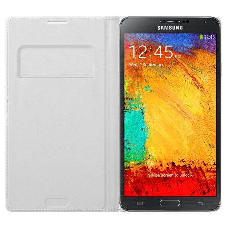 Samsung Galaxy Note 3 Flip Wallet Cover - Classic White