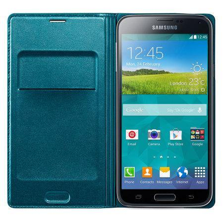 Samsung Galaxy S5 Flip Wallet Cover - Blue Topaz - Uk Mobile Store