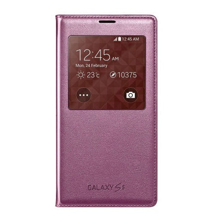Official Samsung Galaxy S5 S-View Premium Cover Case - Glam Pink