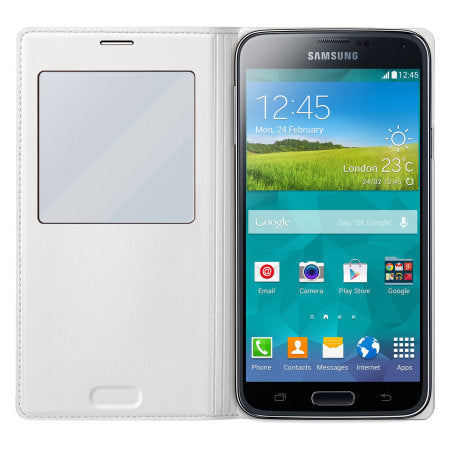 Official Samsung Galaxy S5 S-View Premium Cover Case - White