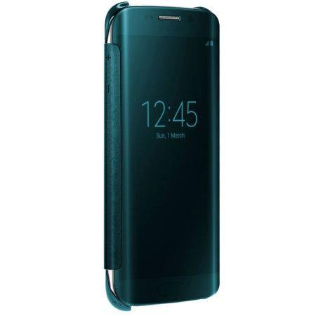 Official Samsung Galaxy S6 Edge Clear View Cover Case Green EF-ZG925BGEGWW