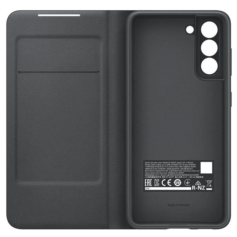 Official Samsung Galaxy S21 LED View Cover Case Black - Uk Mobile Store