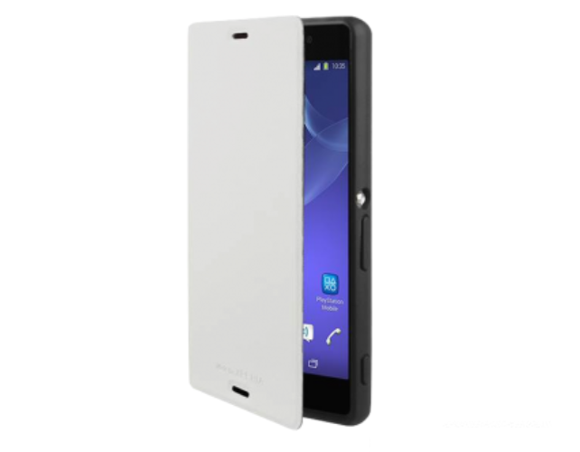 Sony Xperia Z3 Compact Gel Shell Flip Plus Cover Case - White - Uk Mobile Store