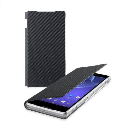 Sony Xperia Z2 Standing Book Flip Case - Carbon Black
