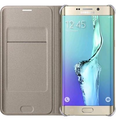 Official Samsung Galaxy S6 Edge+ Plus Flip Wallet Cover - Gold - Uk Mobile Store