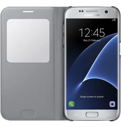 Official Samsung Galaxy S7 S View Premium Cover Case Silver - Uk Mobile Store