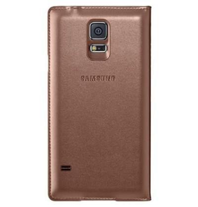 Official Samsung Galaxy S5 S-View Flip Cover Case - Rose Gold - Uk Mobile Store