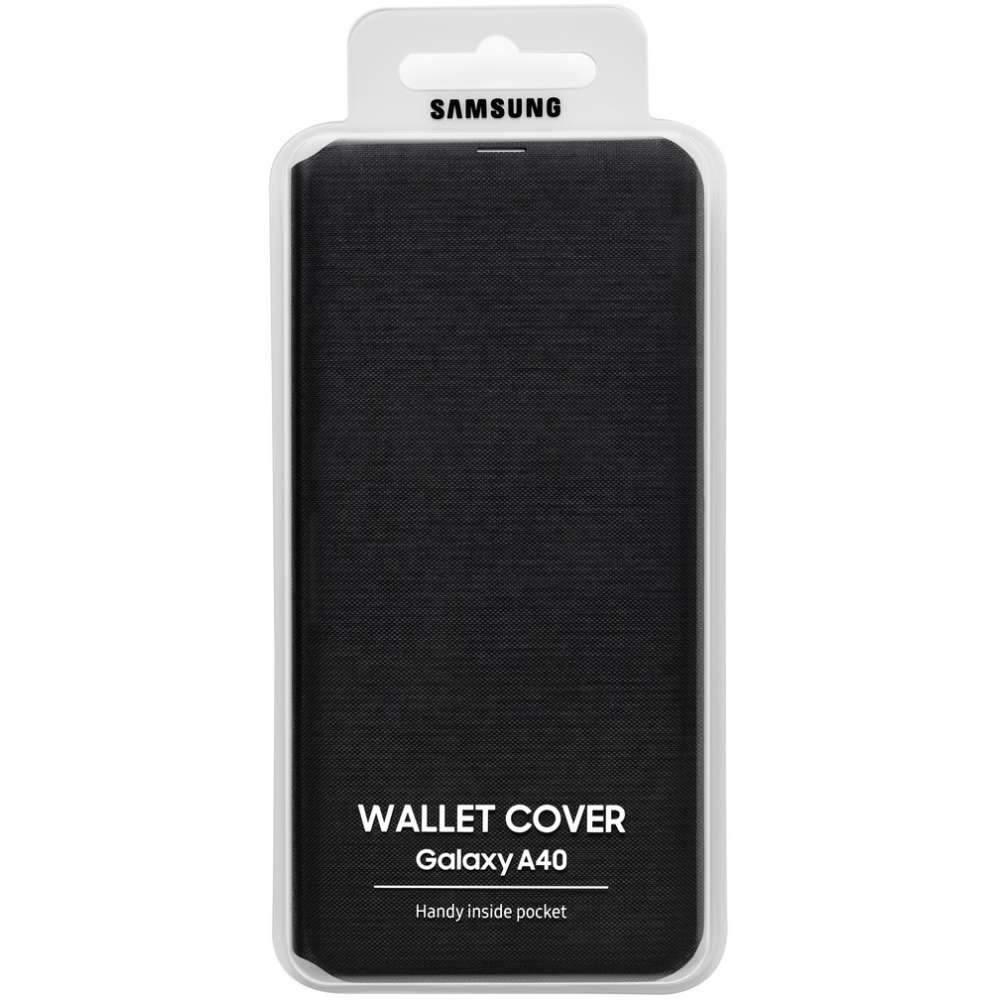Official Samsung Galaxy A40 Wallet Case Cover Black - Uk Mobile Store