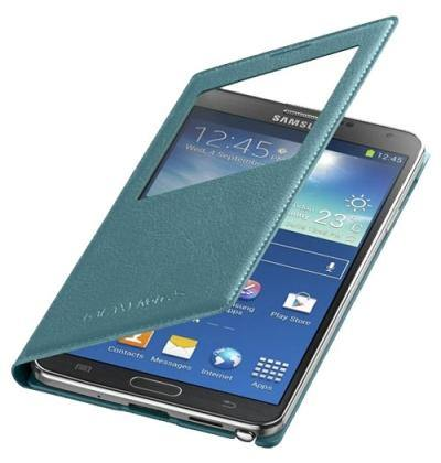 Samsung Galaxy Note 3 S-View Premium Cover Case - Blue Lime