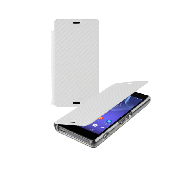 Sony Xperia Z3 Compact Slimline Book Case - Carbon White