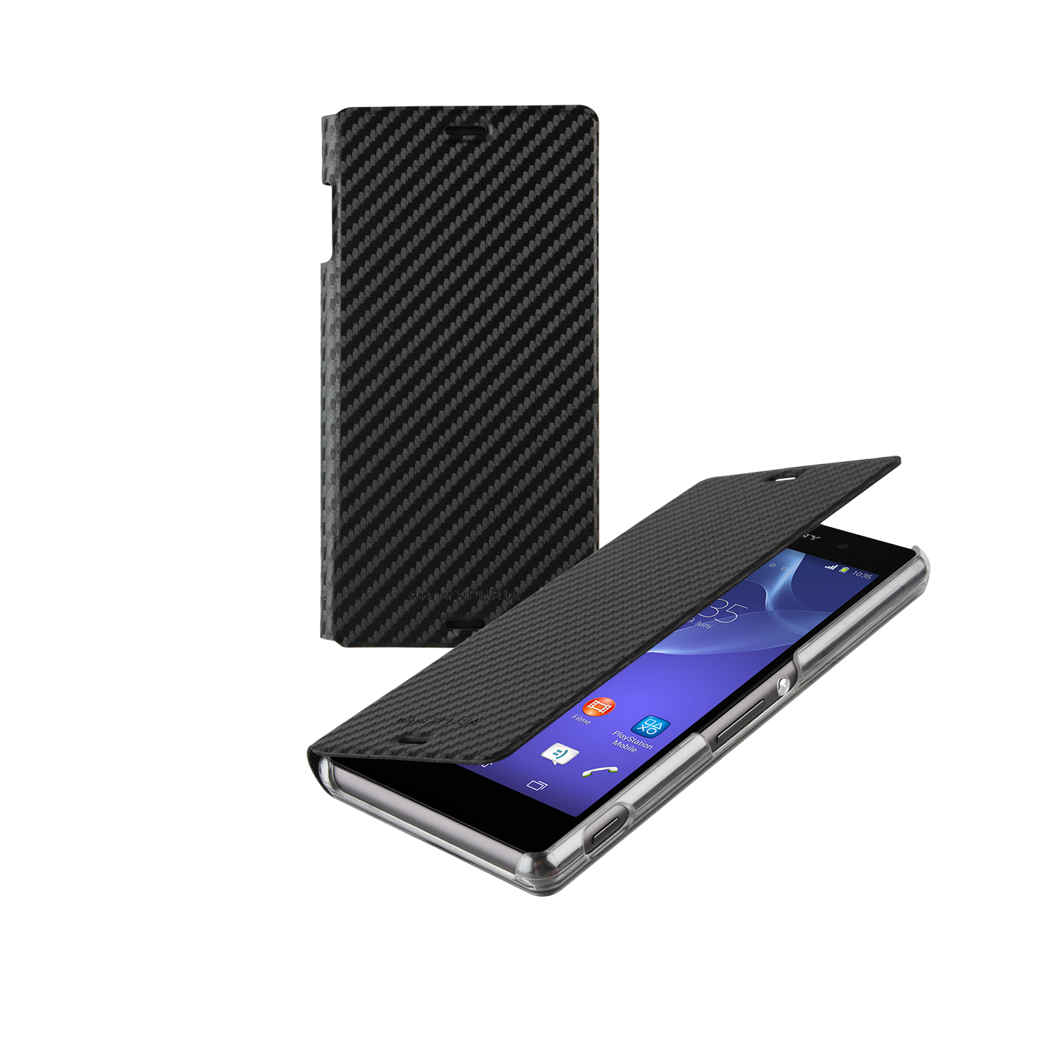 Sony Xperia Z3 Book Case Cover - Carbon Black