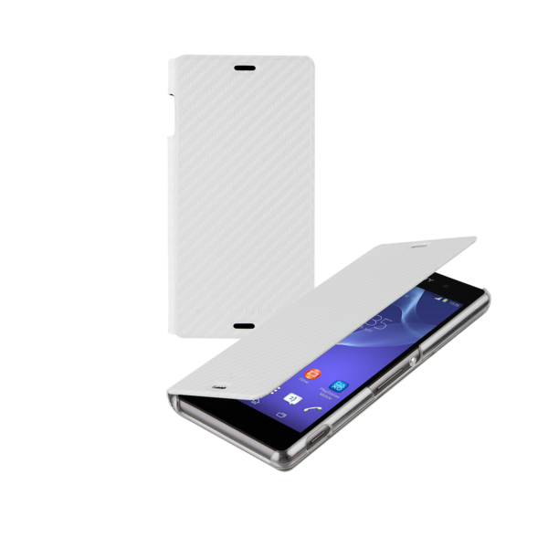 Sony Xperia Z3 Book Case Cover - Carbon White - Uk Mobile Store