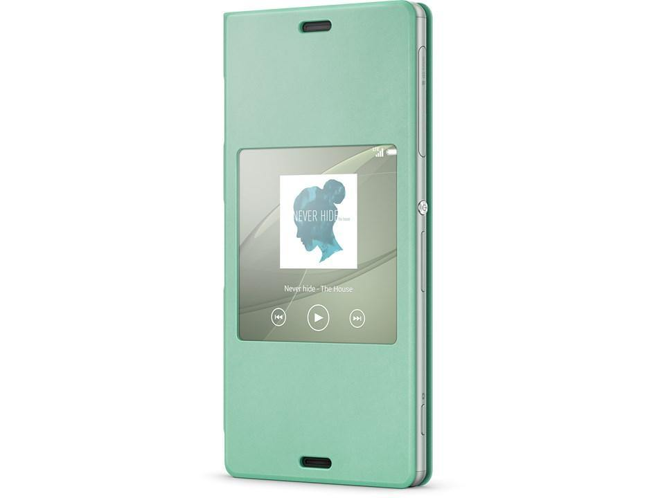 Official Sony Xperia Z3 Style Cover Stand Case SCR24 - Silver Green