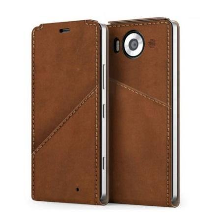 Mozo Microsoft Lumia 950 XL Leather Flip Cover Cognac - Uk Mobile Store