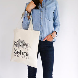 tote bag coton bio zebra vegan shop