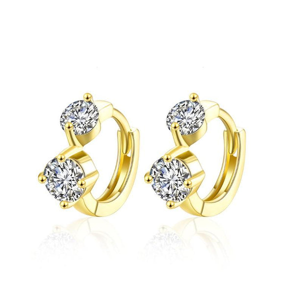 Golden NYC 18K Gold Plated Huggies Earring-Geometric Half
