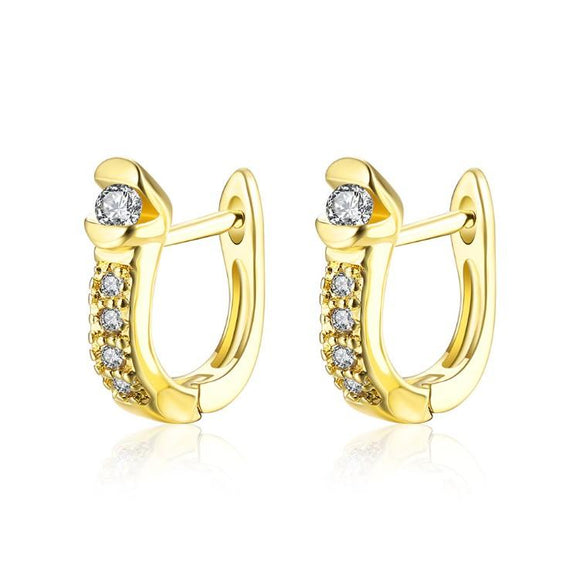 Golden NYC 18K Gold Plated Huggies Earring-2 Face Pave Stone