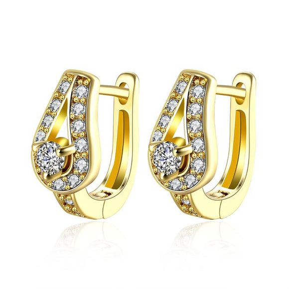 Golden NYC 18K Gold Plated Huggies Earring-Mini Pave Stones