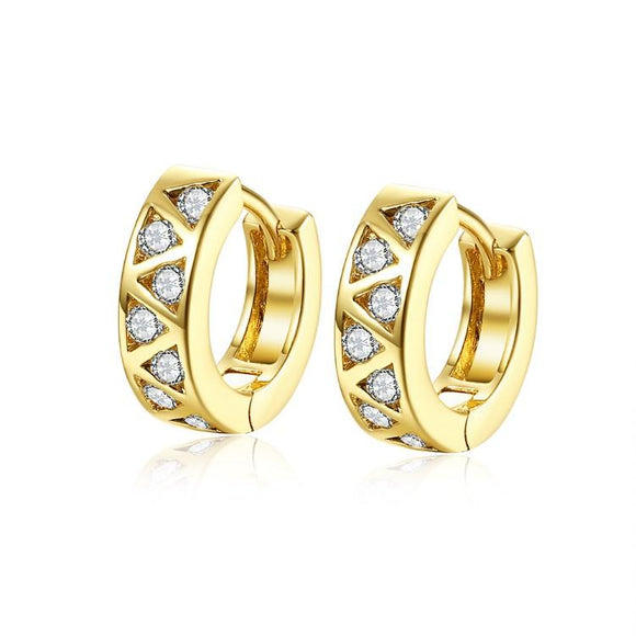Golden NYC 18K Gold Plated Triangle Design Stones Earring