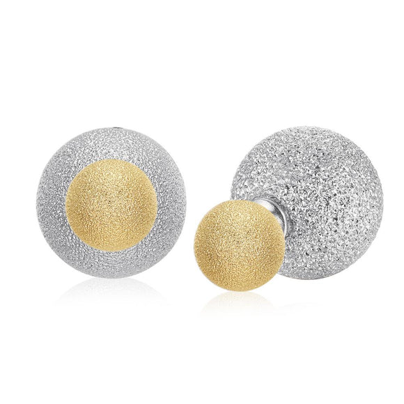 Silver & Gold Glitter Double Stud Earrings