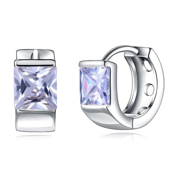Swarovski Crystal Square Shaped Clip On Huggies Set in 18K White Gold