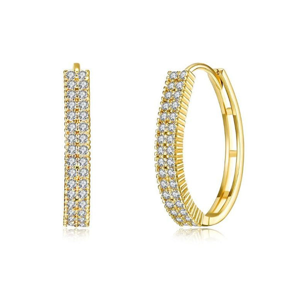 Swarovski Crystal Micro Pav'e Huggie Hoops Set in 18K Gold