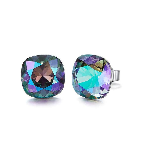 Swarovski Crystals Changing Stone Color Aurora Borealis Square Stud Earring