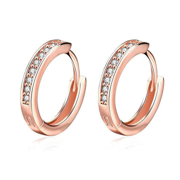 Single Row Huggie Earrings in Rose Gold