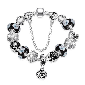 Dark Floral Night Pandora Inspired Bracelet