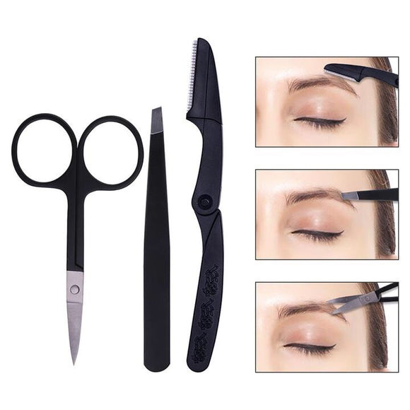 DUcare 4 Pcs Eyebrow Trimmer Shaving Tweezer Scissor Set