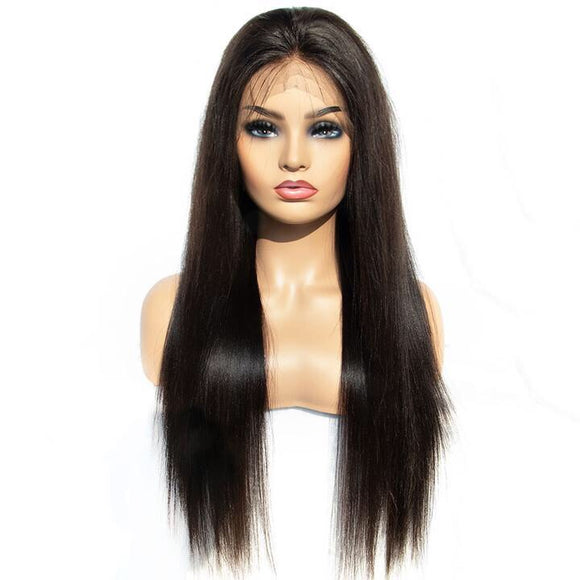 250 Density Full Lace Wig With Baby Hair Light Yaki Straight Human Remy Hair Wig