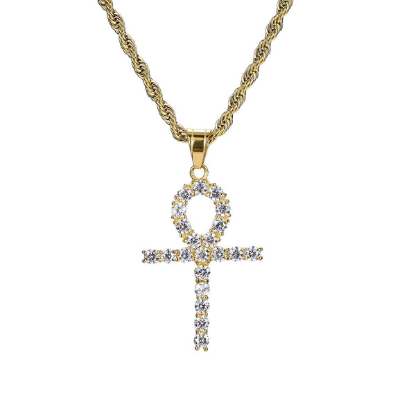 Iced Out Celtic Sun Cross 18K Gold Filled with Diamond Cut Chain