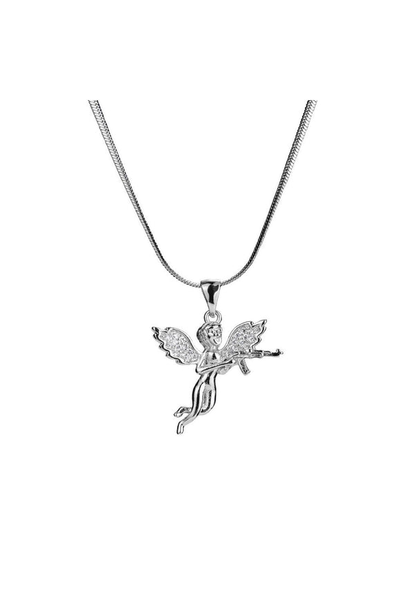 Iced Out Angel with AK47 Necklace in 18K White Gold Filled with Chain
