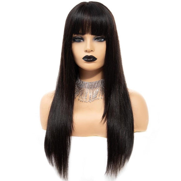 Malaysian Straight Lace Front Wig With Bangs 150% Density