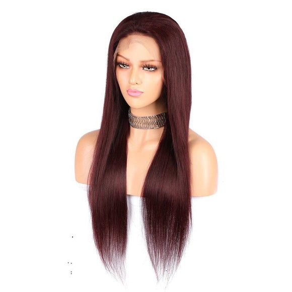 Red Lace Front Wig Human Hair Straight 13x6 Deep Part Pre Plucked Hairline With Baby Hair