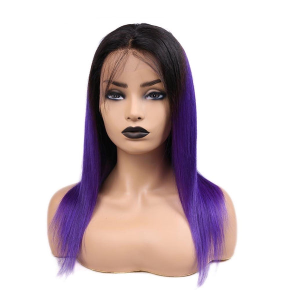 1B Purple 13*4 Lace Frontal Straight Ombre Wig With Baby Hair Pre Plucked Natural Hairline